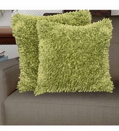 Avira Home Green Micro Polyester 18 X 18 Inch Pixi Shaggy Cushion Cover - Set Of 2