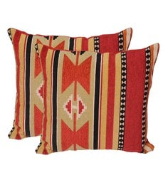 Avira Home Multicolour Poly Cotton 18 X 18 Inch Ikat Cushion Cover - Set Of 2