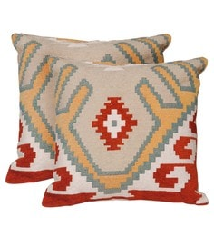 Avira Home Multicolour Poly Cotton 18 X 18 Inch Ikat Woven Cushion Cover - Set Of 2