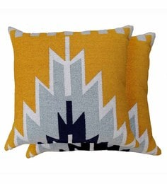 Avira Home Multicolour Poly Cotton 18 X 18 Inch Ikat Woven Cushion Cover - Set Of 2 - 1604812