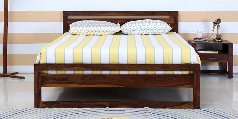 Avian Solidwood King Bed in Provincial Teak Finish by Woodsworth