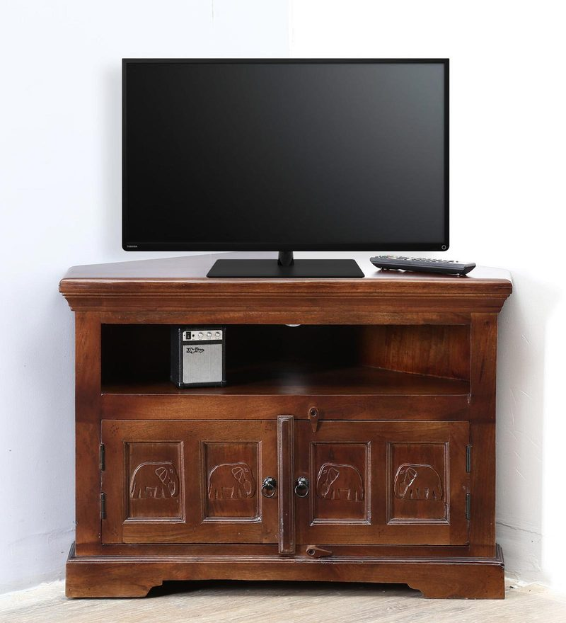 Avagraha Corner Entertainment Unit in Provincial Teak Finish by Mudramark