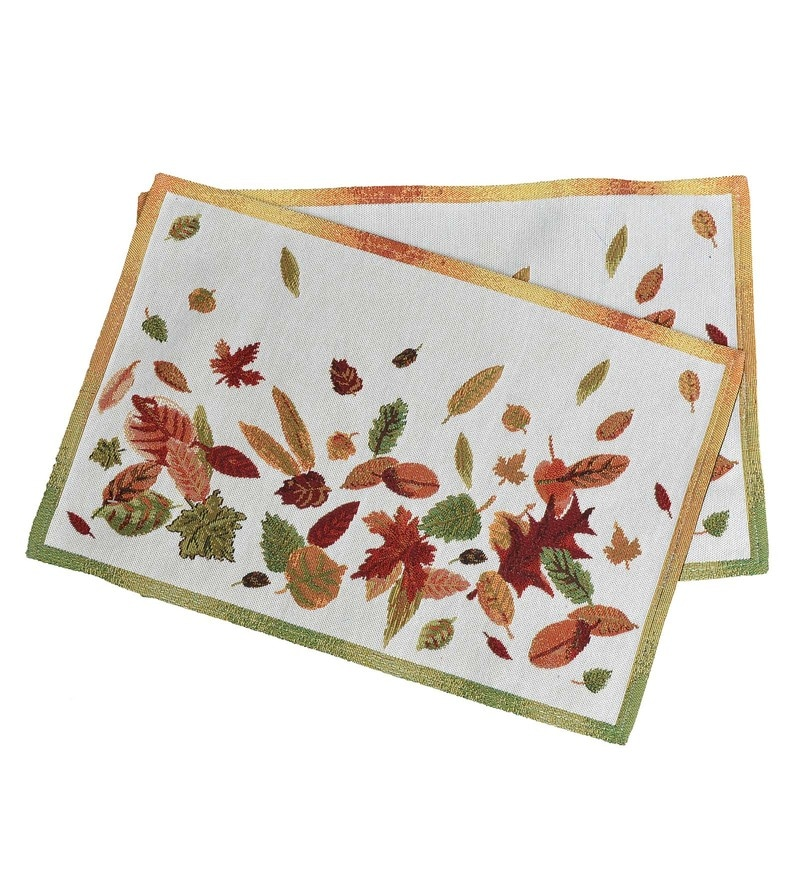 Avira Home Autumn Leaves Machine Washable Multicolour Cotton & Polyester Placemats - Set of 2