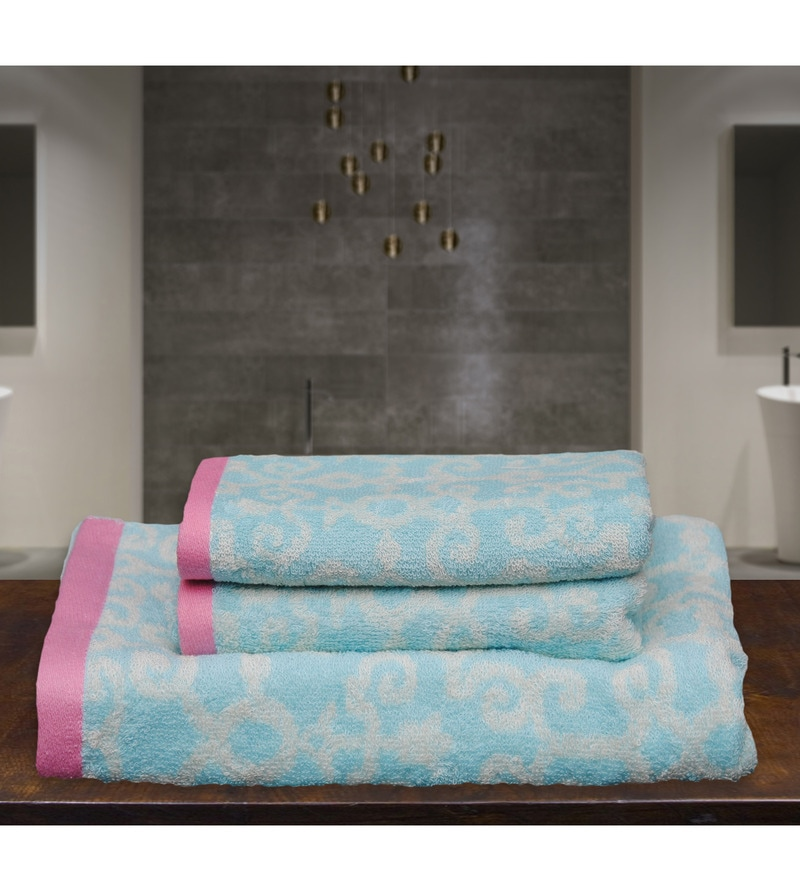 Blue and Pink Cotton Abstract 3 Piece Towel Set by Avira Home