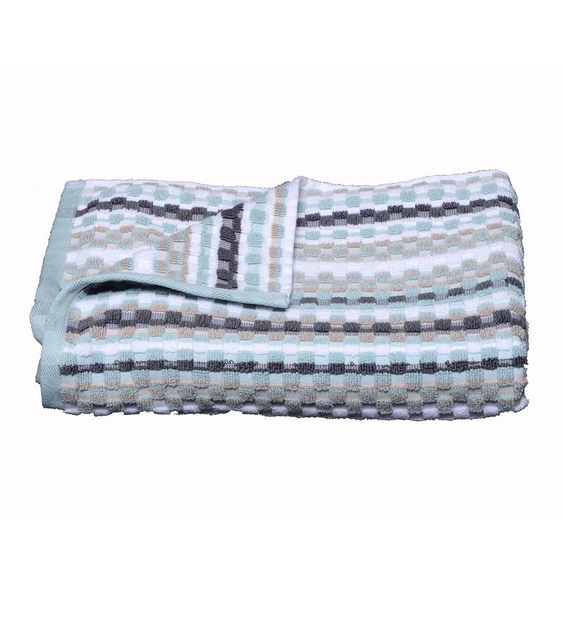 Blue Cotton 27.5 x 53.5 Inch Manhattan Stripe Waffle Bath Towel by Avira Home