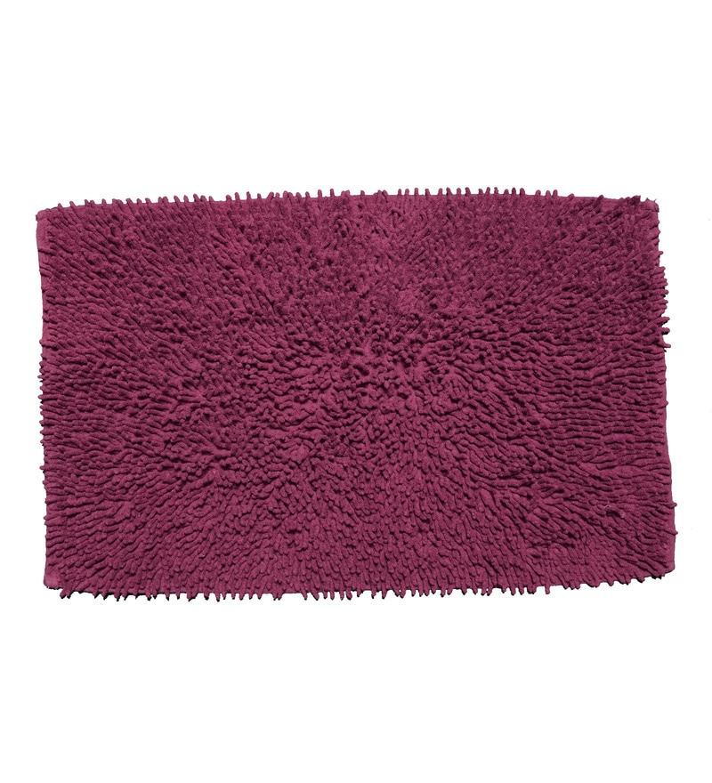 Maroon 100% Cotton 19 x 29 Inch Shaggy Door Mat by Avira Home