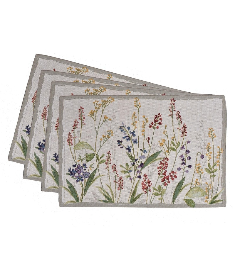 Avira Home Meadow Multicolour Cotton & Polyester Placemats - Set of 4