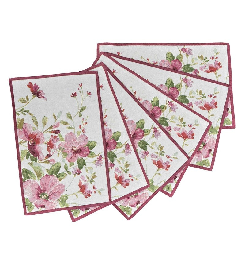 Avira Home Summer Flowers Multicolour Cotton & Polyester Placemats - Set of 6