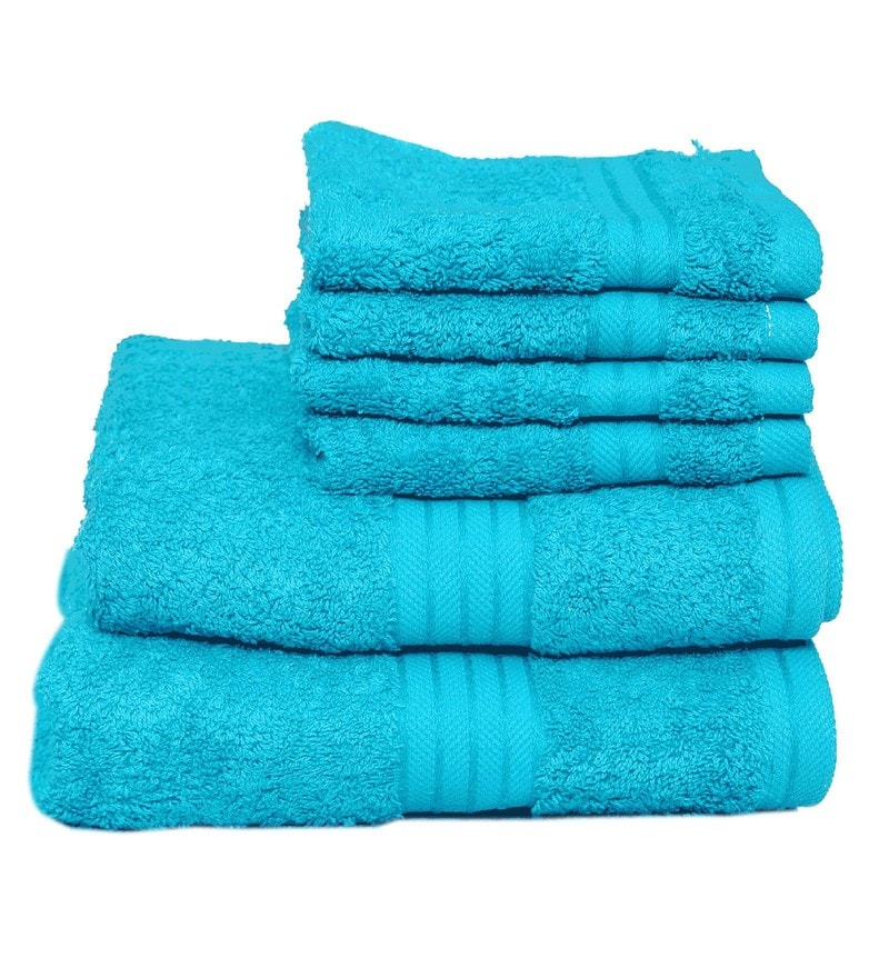Turquoise Cotton Egyptian Towels - Set of 6 by Avira Home