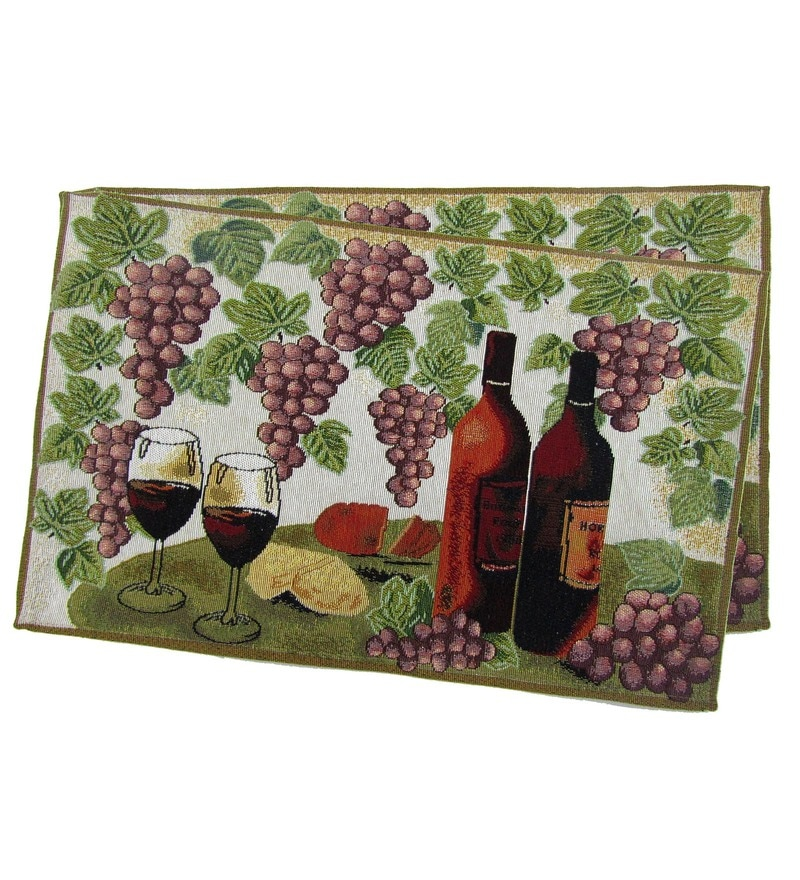 Avira Home Vineyard Machine Washable Multicolour Cotton & Polyester Placemats - Set of 2