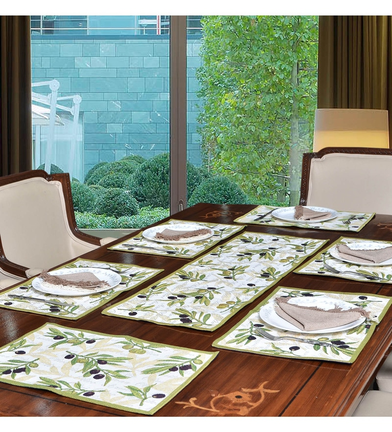 Avira Home Vineyard Multicolour Cotton & Polyester Table Runner & Placemats - Set of 7