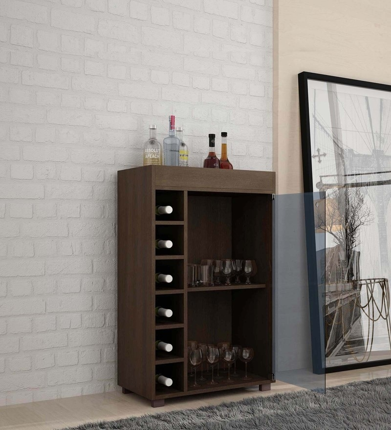 Awamori Bar Cabinet with Glass Shutter in Brown Finish by Mintwud