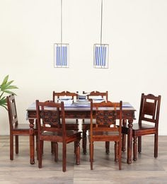 Ayasa Six Seater Dining Set In Honey Oak Finish
