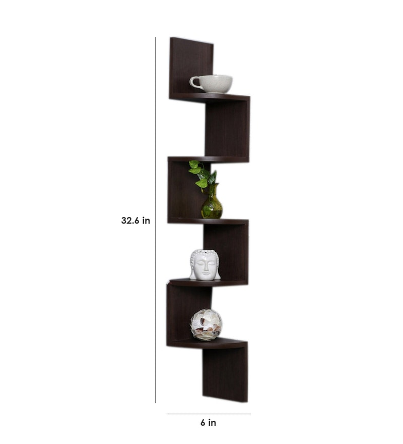 Buy Zig Zag 5 Tier Wall Shelf In Brown Finish By Decornation Online