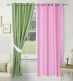 Solid Polyester 7 Feet Long Door Curtain Set Of 2
