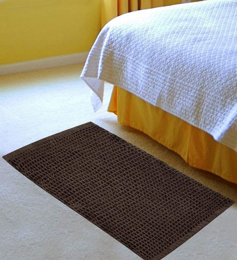 Brown Cotton 36 x 24 Inch Honeycomb Rug by Azaani