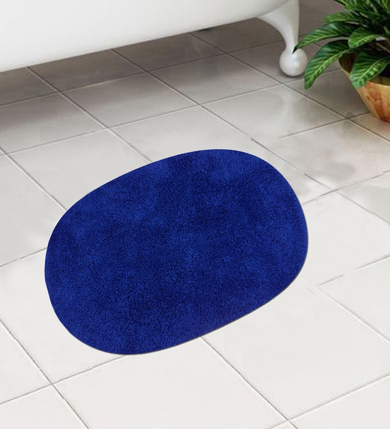 Blue Cotton 24 x 16 Inch Bath Mat - Set of 2 by Azaani