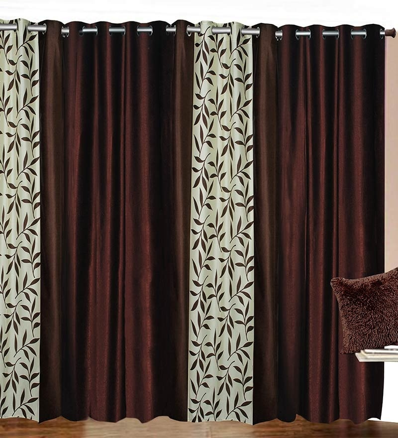84 x 48 Inch Brown Polyester Door Curtain - Set of 4 by Azaani