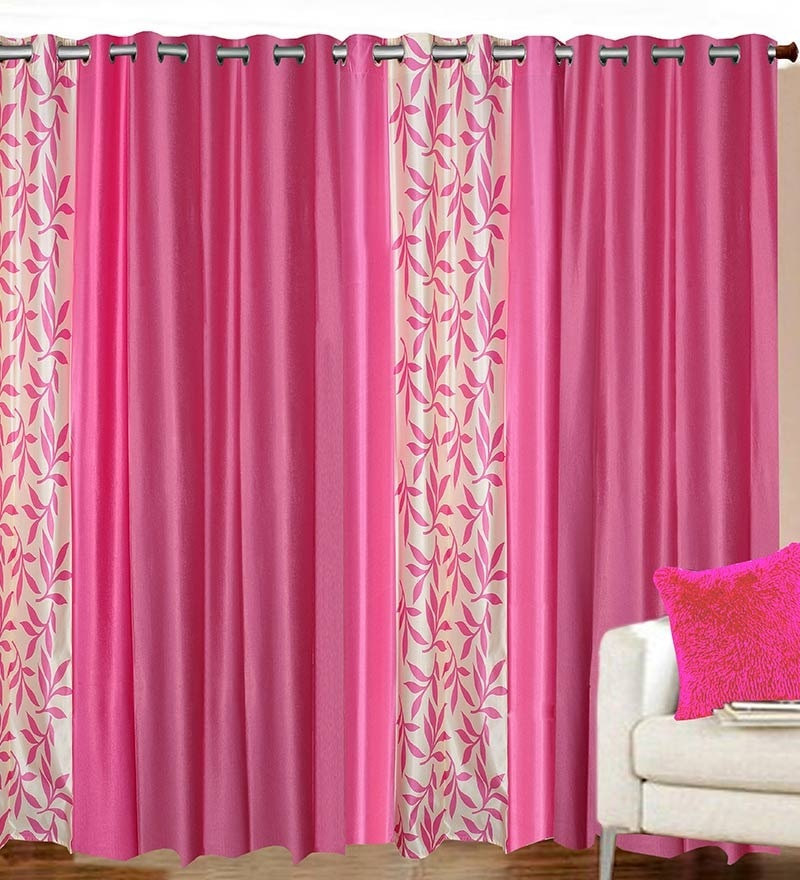 84 x 48 Inch Pink Polyester Door Curtain - Set of 4 by Azaani