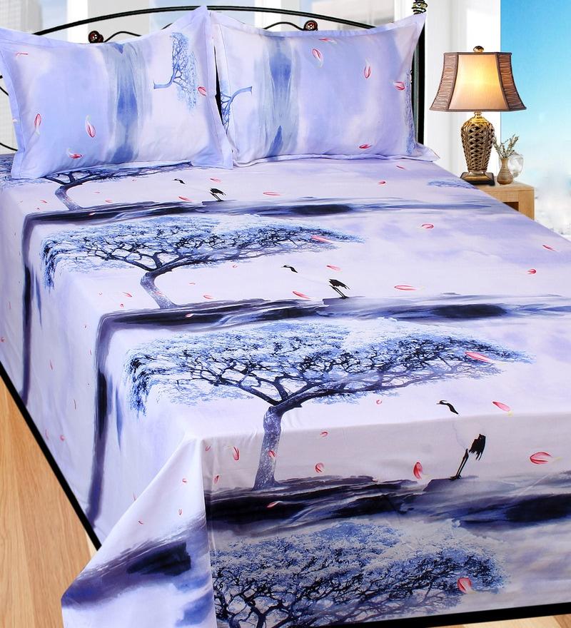 Multicolour Cotton Double Size Bedsheet - Set Of 3 by Azaani