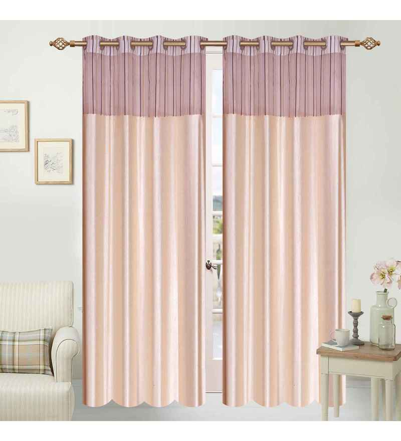 Multicolour Polyester 84 x 48 Inch Elegance Eyelet Door Curtains - Set of 2 by Azaani