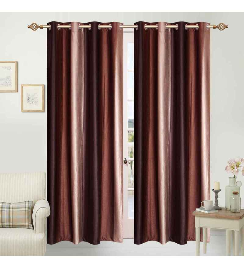 Multicolour Polyester 84 x 48 Inch Ombre Eyelet Door Curtains - Set of 2 by Azaani
