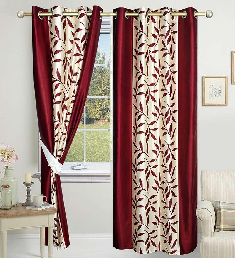 84 x 48 Inch Maroon Polyester Door Curtain - Set of 2 by Azaani