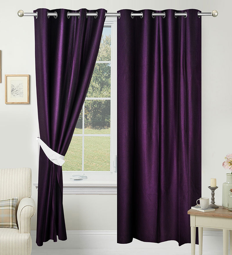 84 x 48 Inch Purple Polyester Door Curtain - Set of 2 by Azaani