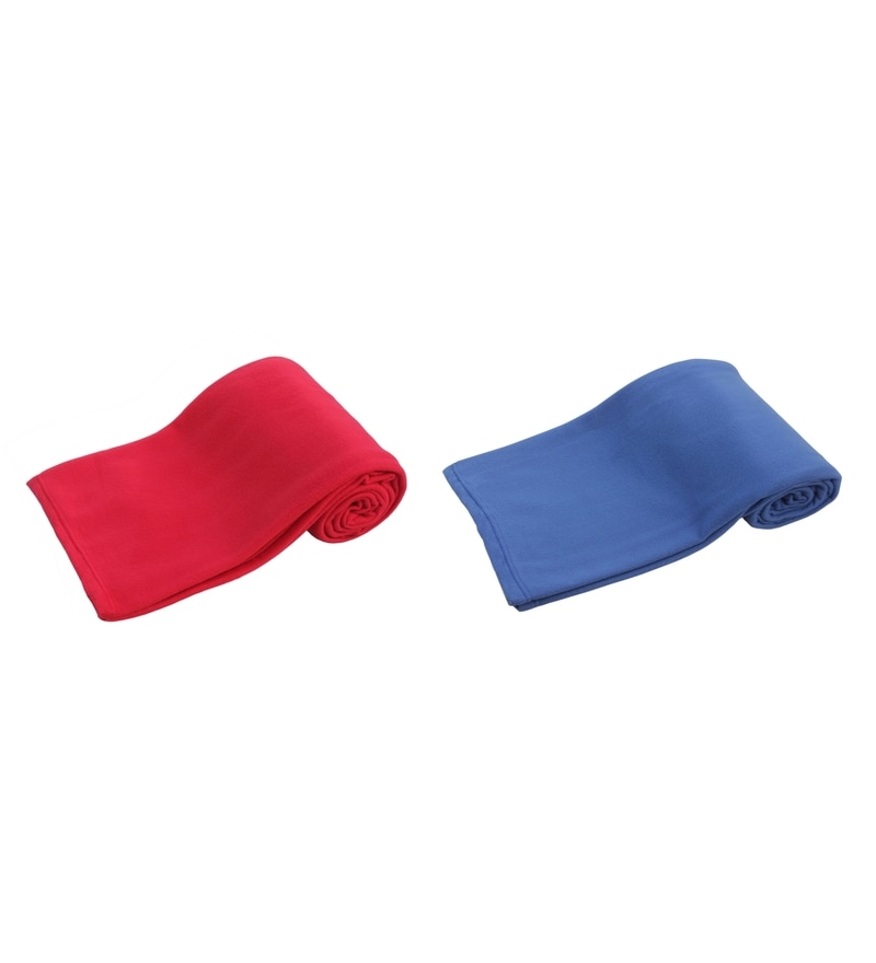 Red and Blue Polyester Single Size Blanket - Set of 2 by Azaani