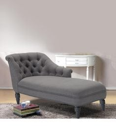 Tufted Back Lounge Chaise In Grey Colour