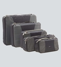 Bags R Us Polyester Grey Packing Cubes - Set Of 5,13 Litres