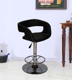 Bar Chair With Chrome Base In Black Leatherette