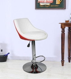 Bar Chair With Chrome Base In White & Red Leatherette