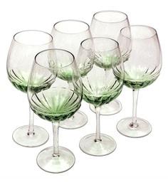 Bar World Fancy Green Glass 500 ML Glasses - Set Of 6