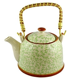 Bar World Green & White Porcelain 800 ML Teapot With Cane Handle - Set Of 3 - 1601945