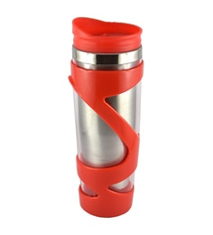 Bar World Metallic & Red Stainless Steel & Plastic 500 ML Vacuum Flask