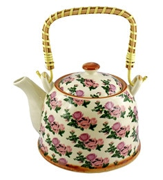 Bar World Multicolour Porcelain 800 ML Teapot With Cane Handle - Set Of 3 - 1601934