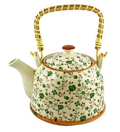 Bar World White & Green Porcelain 800 ML Teapot With Cane Handle - Set Of 3