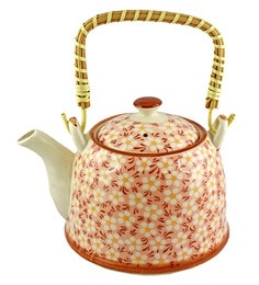 Bar World White & Orange Porcelain 800 ML Teapot With Cane Handle - Set Of 3 - 1601931