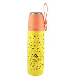 Bar World Yellow & Orange Stainless Steel & Plastic 500 ML Vacuum Flask