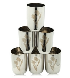 Bartan Shopee Flower Design Stainless Steel Glasses - Set Of 6