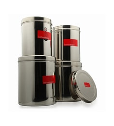 Bartan Shopee Stainless Steel Kitchen Containers Capacity Round 3.5 Litres - Set Of 4