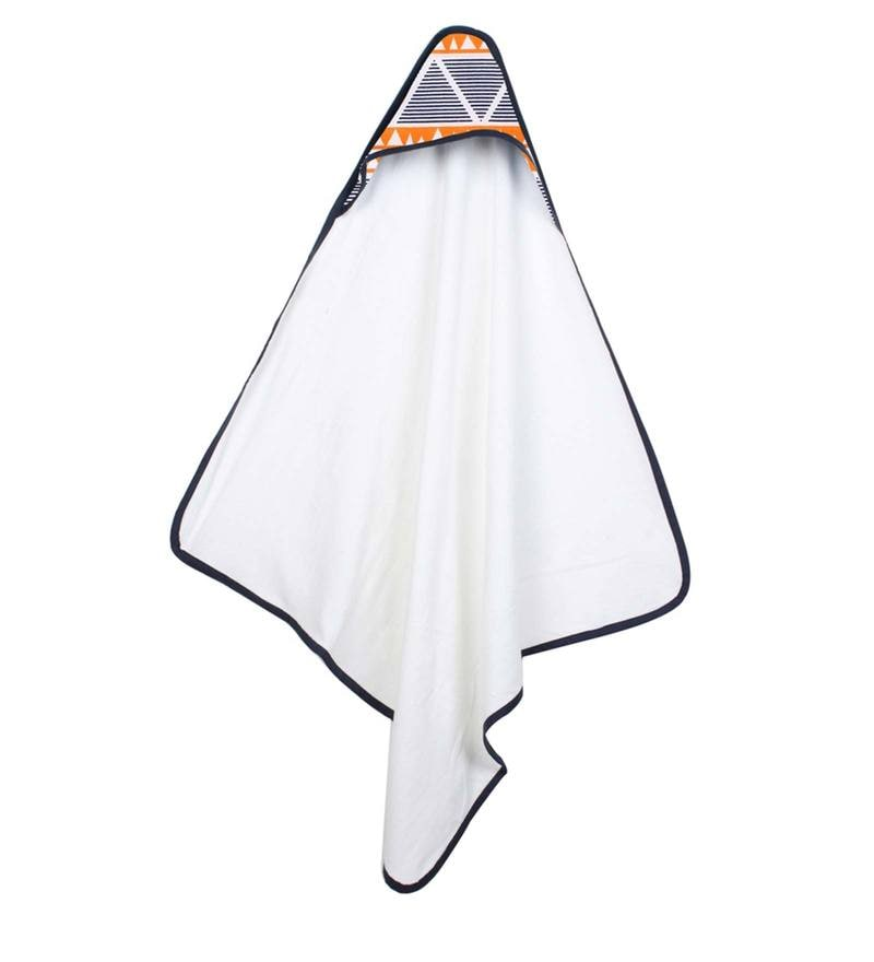 Aztec Orange Navy Large Triangles Hooded Towel by Bacati