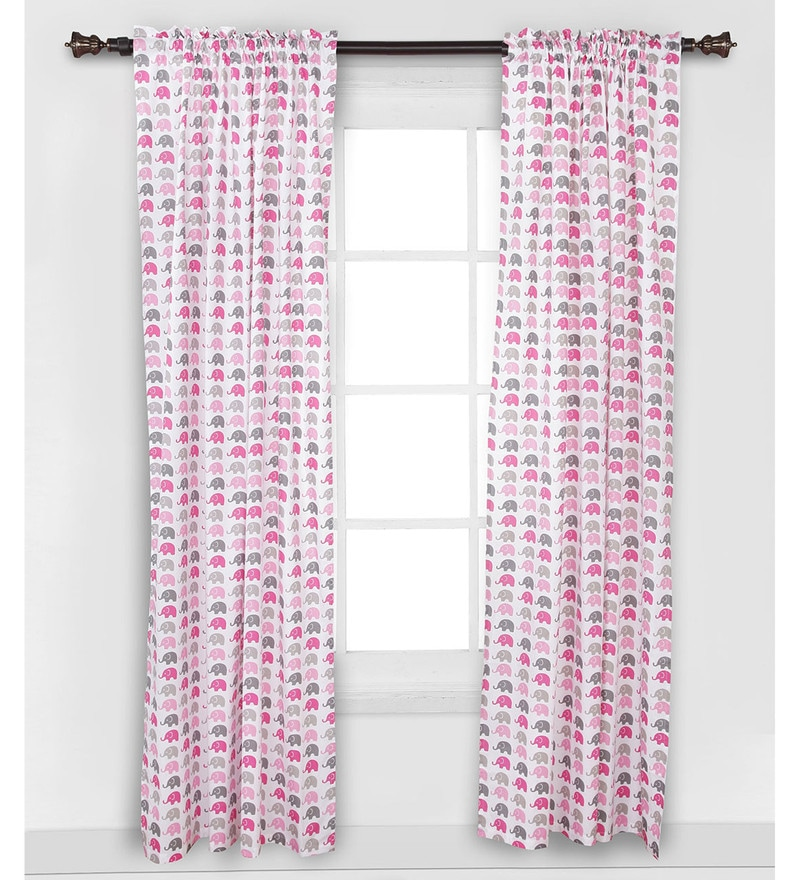Elephant Pink Grey Curtain Panel Door Set of 2 pcs by Bacati