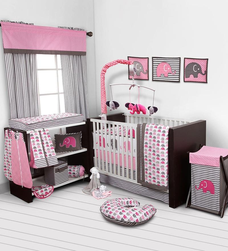Elephant Pink Grey Nursing Pillow by Bacati