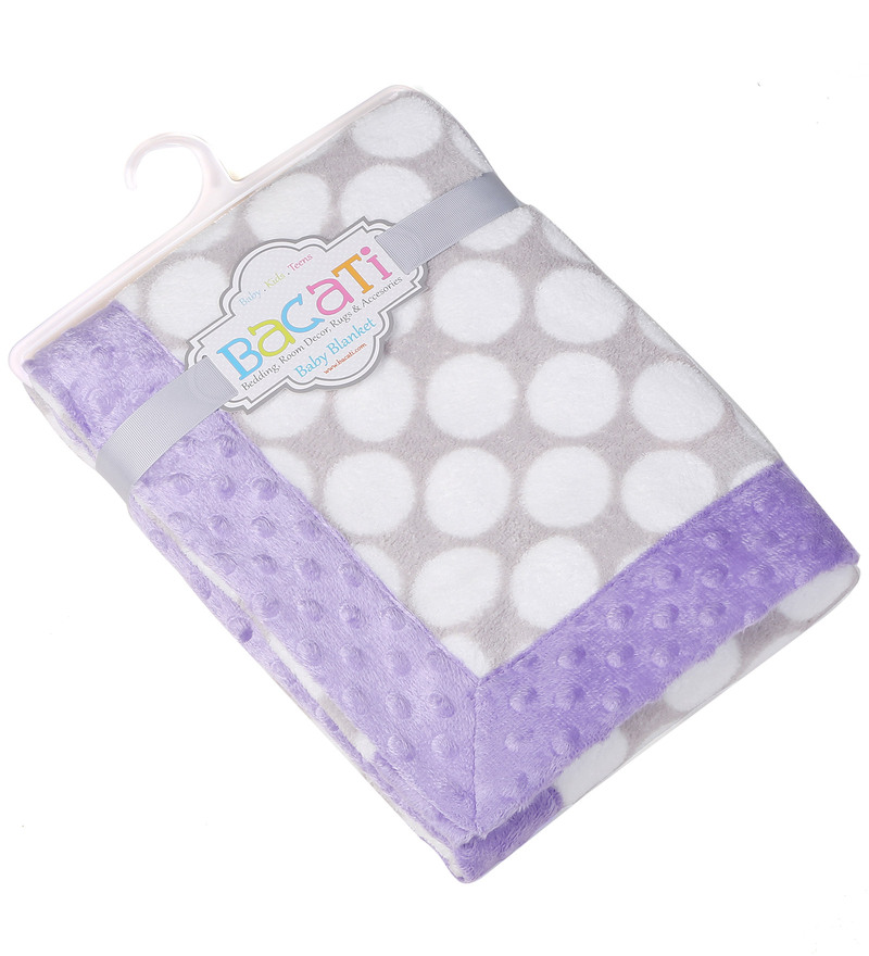 Grey Dots with Purple Border Baby Blanket by Bacati