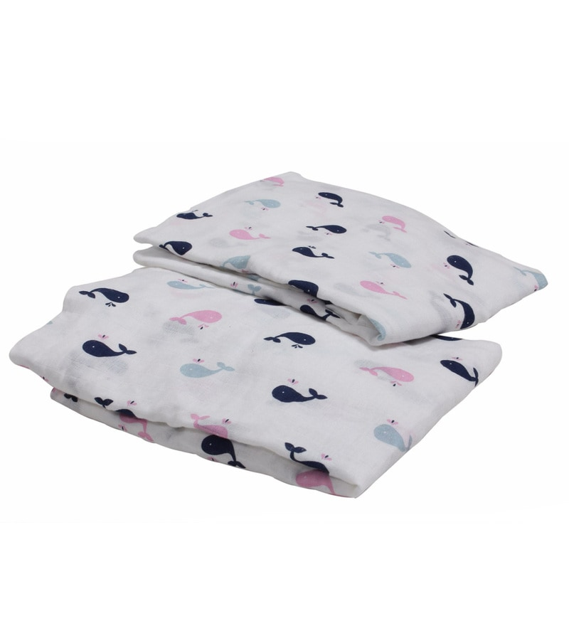 Bacati Multicolour Muslin 52 x 28 Inch Little Sailor Whales Girls Crib Baby Bedding Set - Set of 2