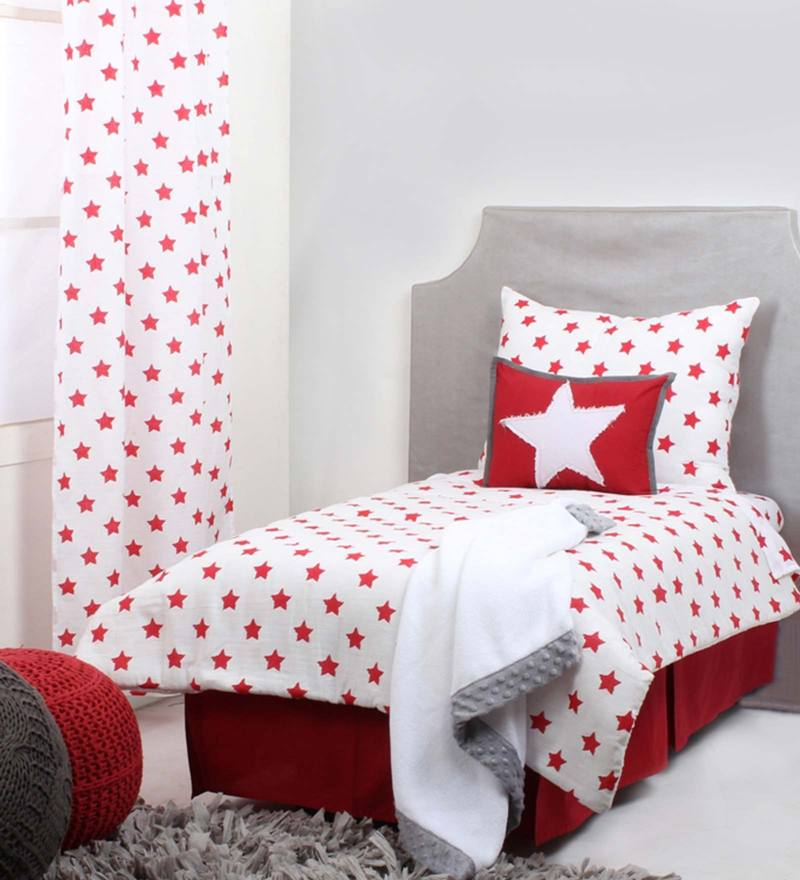 Star Red Ikat Muslin 4 Piece Toddler Bedding Set by Bacati
