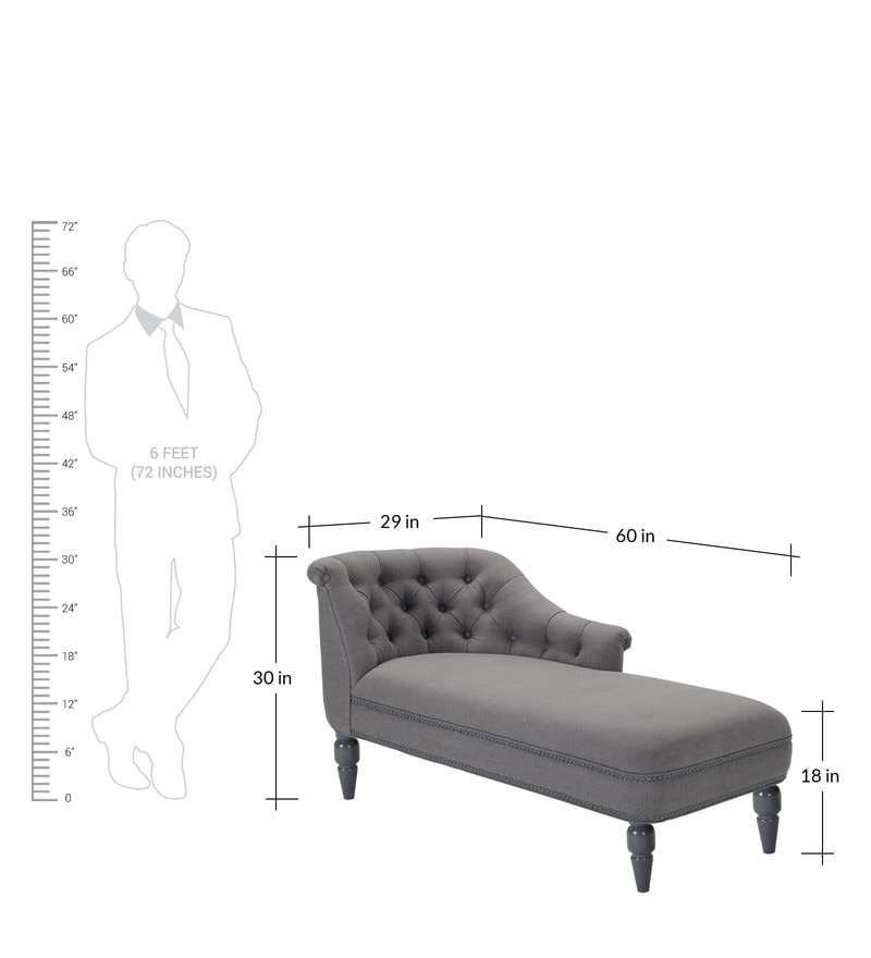 Krasto Tufted Back Fabric Chaise Lounger in Grey Colour by Dreamzz Furniture