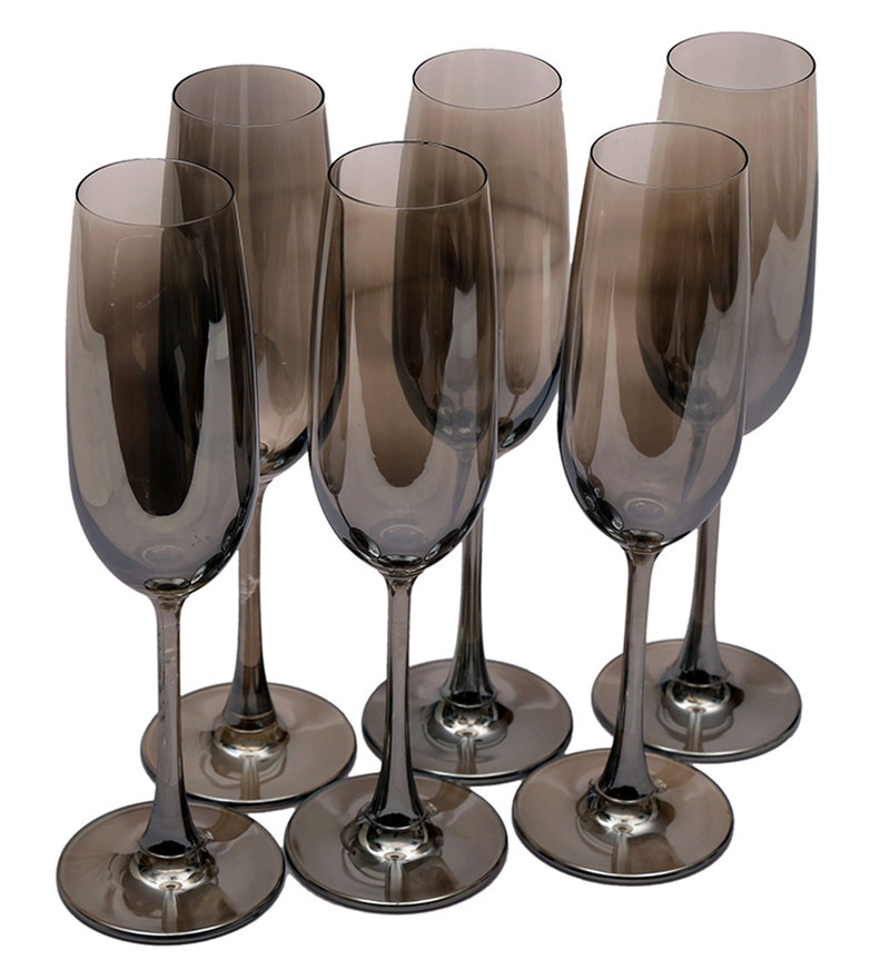 Bar World Fancy Metallic Glass 200 ML Champagne Glasses - Set of 6